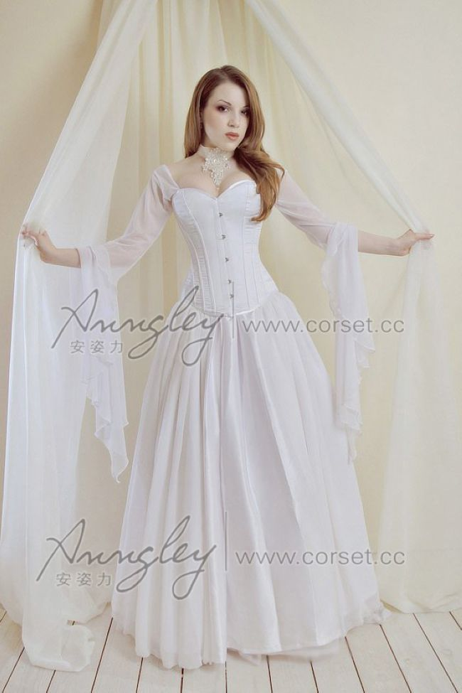 White Wedding Corset Dresses Bustier Top Long Skirt Outfit With Long ...