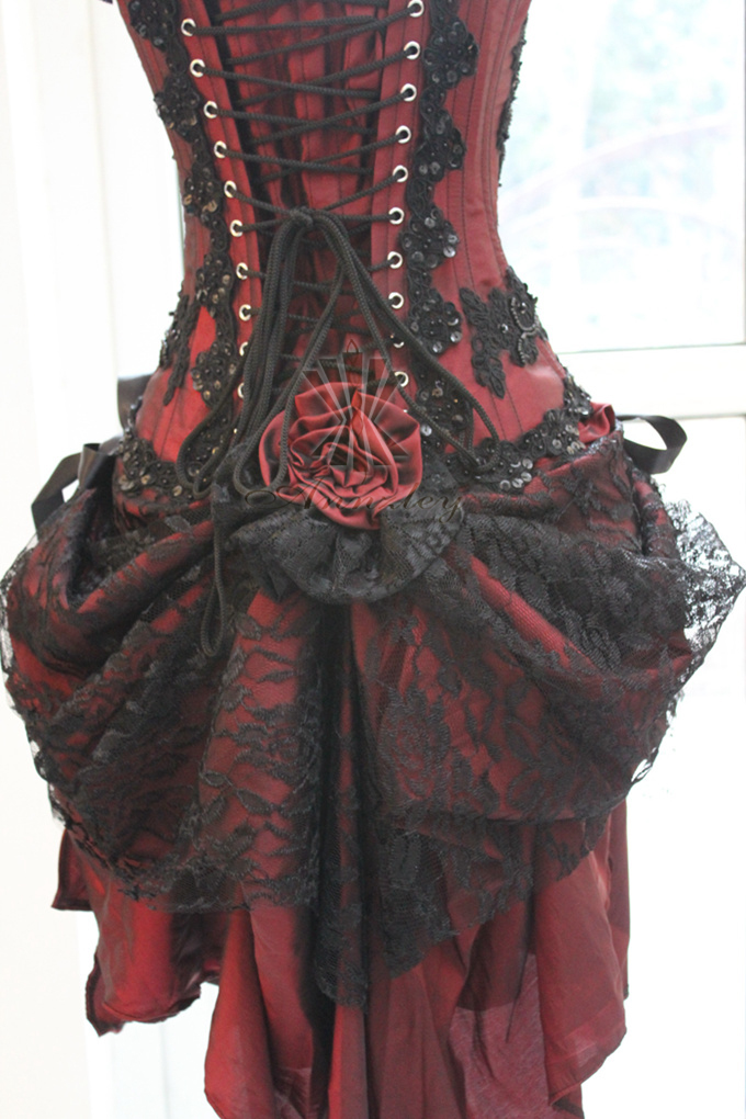 Custom Girl\'s Vintage Wedding Dresses Gothic Burgundy Corset Dress ...