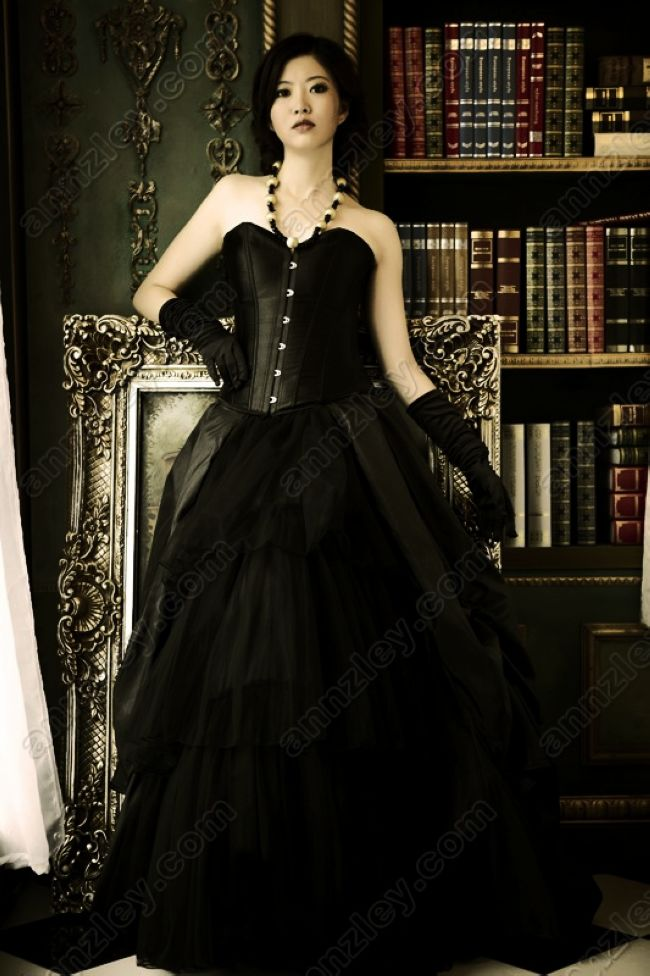 c77e824afd6 Vintage Style Corset Long Black Prom Dresses For Party